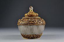 Tibetan Gilt Quartz Covered Pot Size : 5 1/2