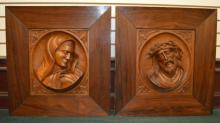 Two Relief Carved Panels: Christ And Mary