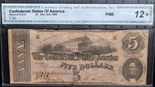 1862 $5 T-53 CSA Richmond, VA CGA Fine 12*