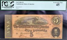 1864 $5 T-69 CSA Richmond, VA PCGS EF 45