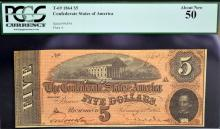 1864 $5 T-69 CSA Richmond, VA PCGS About New 50