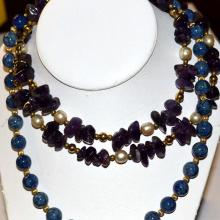 Lapis & Amethyst Bead Necklaces