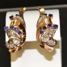 Vintage Rose Gold Sapphire & Diamond Earrings