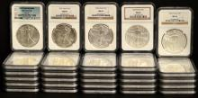 1986-2013-W 29 American Silver Eagles NGC MS 69+70