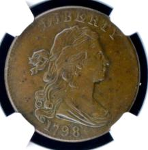 1798 2nd Hair Draped Bust Large Cent NGC AU 58 BN