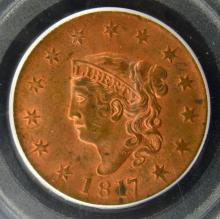 1817 13Stars Liberty Head Lg Cent PCGS MS63 RB CAC