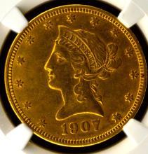1907 $10 Liberty Head Gold Eagle NGC AU 53