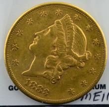 1883 S $20 Liberty Head Gold Double Eagle XF+