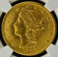 1907 $20 Liberty Head Gold Double Eagle NGC MS 62