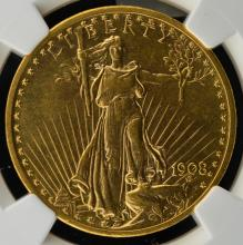 1908 No Motto $20 St Gaud Gold Dbl Eagle NGC MS 62