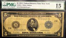 1914 $5 Federal Reserve Large Note NY PMG CF