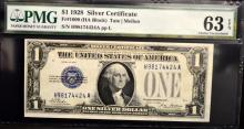 1928 $1 Silver Certificate Note PMG CU 63 EPQ