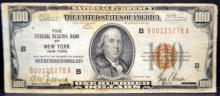 1929 $100 Federal Reserve Bank of New York, NY VG
