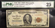 1929 $100 The Federal Reserve Bank of NY PMG VF 25