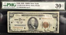 1929 $100 Federal Reserve Bank of NY PMG VF 30 NET