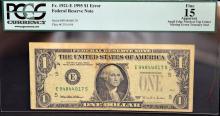1995 $1 Error Federal Reserve Note PCGS Fine 15
