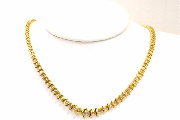 14kyg Diamond Tennis Necklace 4ctw