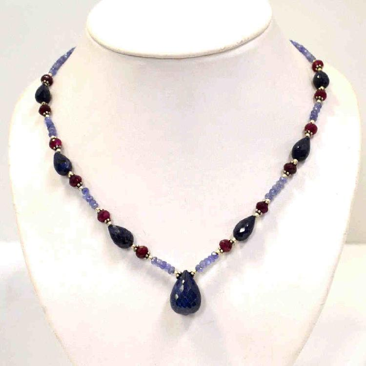 Blue Sapphire, Ruby & Tanzanite Necklace