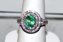 14kwg emerald & Diamond Ring 1.32ct