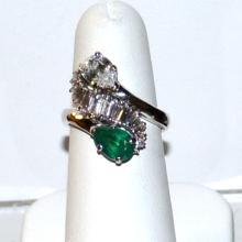 Emerald & Diamond Ring In Platinum