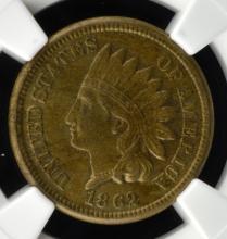 1862 Indian Head Cent NGC AU 58