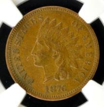 1876 Indian Head Cent NGC AU 53 BN