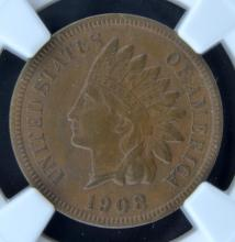 1908 S Indian Head Cent NGC XF 45 BN