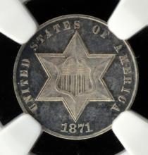 1871 Nickel Three-Cent Piece NGC PF 62