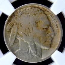 1913 D Type 2 Buffalo Nickel NGC F 12