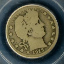 1913 S Barber Quarter Dollar PCGS G 04