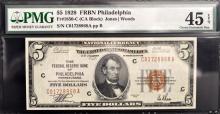 1929 $5 The FRB Philadelphia PA Note PMG CEF45 EPQ