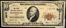 1929 Ty. 2 $10 1st National Bank Miamisburg, OH VF