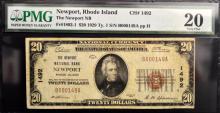 1929 Ty.1 $20 Newport National Bank, RI PMB VF 20