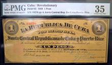 1869 1 Peso Cuba/Revolutionary PMG CVF 35