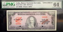 1958 100 Peso Cuba Banco Nacional Specimen PMGCU64