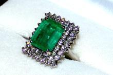 14kwg Emerald & Diamond Ring 6ct