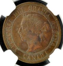 1887 Canada Cent NGC XF 45 BN