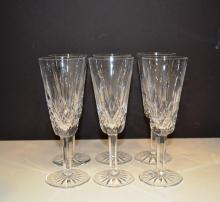 6 Lismore Waterford crystal champagne glasses