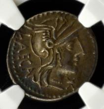 125 BC Roman Republic AR Denarius NGC Ch XF 3.88g