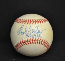 Bob Feller autographed baseball.