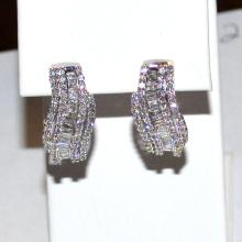 14kwg Diamond Hoop Earrings 1 3/8ctw