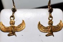 18kyg Egyptian Isis Dangle Earrings
