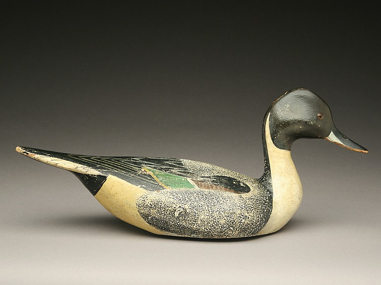 Very rare pinch breasted style pintail drake duck decoy, Ward Brothers, Crisfield, Maryland, circa late 1920's.