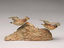 Pair of miniature flying quail, Russ Burr, Hingham, Massachusetts.