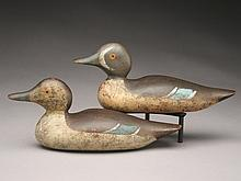Rare rigmate pair of bluewing teal, Mason Decoy Factory, Detroit, Michigan.