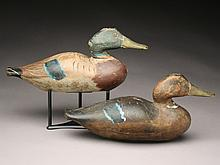 Exceptional rigmate pair of oversize mallards, Dodge Decoy Factory, Detroit, Michigan, last quarter 19th century.