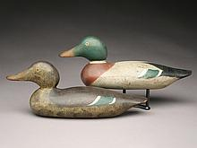 Rare rigmate pair of mallards, Mason Decoy Factory, Detroit, Michigan.