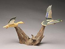 Pair of miniature flying mallards, Russ Burr, Hingham, Massachusetts.