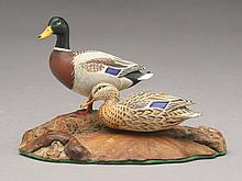 Pair of miniature mallards, A.J. King, North Scituate, Rhode Island.