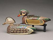 Pair of 1/4 size wood ducks, Jack Rider, Port Clinton, Ohio.